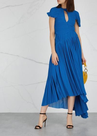 PREEN BY THORNTON BREGAZZI Milly blue pleated georgette midi dress