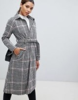 PrettyLittleThing longline belted coat in check