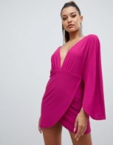 PrettyLittleThing plunge cape bodycon dress in purple – magenta mini