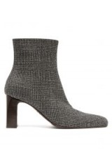BALENCIAGA Grey Prince of Wales checked twill ankle boots