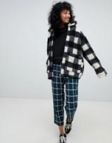 Pull&Bear borg mono jacket / black and white checks
