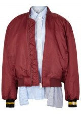 PUSHBUTTON Burgundy oversized shell bomber jacket