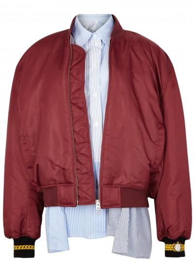 PUSHBUTTON Burgundy oversized shell bomber jacket
