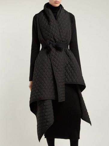 Norma Kamali Black Quilted Blanket Belted Coat