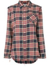 R13 check pattern frayed trim shirt