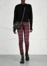 R13 Kate dark-red plaid skinny jeans ~ tartan denim skinnies
