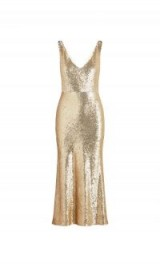 RACHEL ZOE Lola Metallic Sequin Midi-Dress Gold. LUXE GLAMOUR