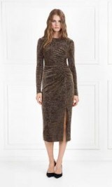 RACHEL ZOE Lovey Metallic Jersey Midi Dress Black/Gold. LUXE