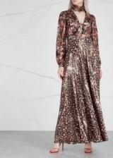 RAQUEL DINIZ Geena printed black silk lamé maxi dress ~ metallic thread event gown