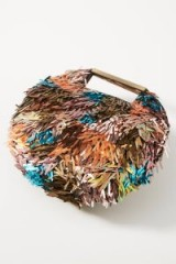 ANTHROPOLOGIE Ready To Party Embellished Clutch. ROUND FRINGED BAG
