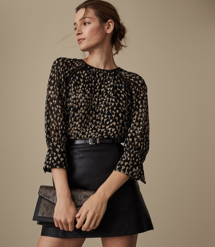 REISS REEMA DITSY PRINTED BLOUSE ~ feminine black top with gold print