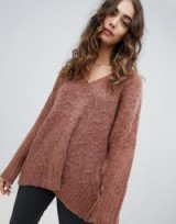 Religion fluffy knit oversized v-neck cable knit jumper in rich rust | baggy chevron design sweater