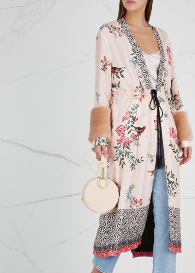 REPLAY Printed faux fur-trimmed kimono jacket in light-pink / floral kimonos