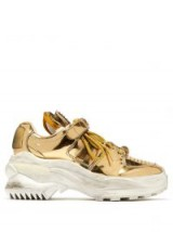 MAISON MARGIELA Retro Fit deconstructed low-top gold leather trainers ~ chunky metallic sneakers