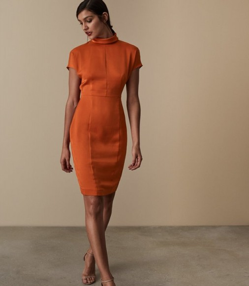 Reiss REX SATIN FITTED DRESS BURNT ORANGE / chic fashion