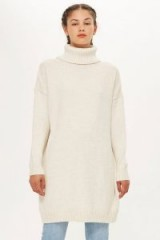 Topshop Ribbed Roll Neck Jumper in Oatmeal | longline sweater | high neck knitted dress