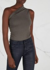 RICK OWENS Charcoal one-shoulder jersey top ~ casual chic
