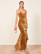 REFORMATION Rimini Dress Gold Velvet ~ long luxe slip