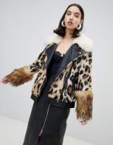 River Island studio faux fur aviator jacket in animal print / fluffy leopard biker