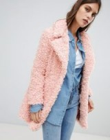 River Island teddy coat in pink | soft touch faux fur