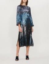 RIXO Coco blue-tonal sequin-embellished dress