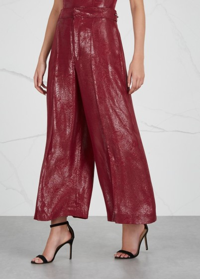 ROLAND MOURET Costello metallic-red silk-blend trousers ~ luxe event clothing