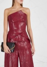 ROLAND MOURET Neal metallic-red silk-blend top ~ luxe event top
