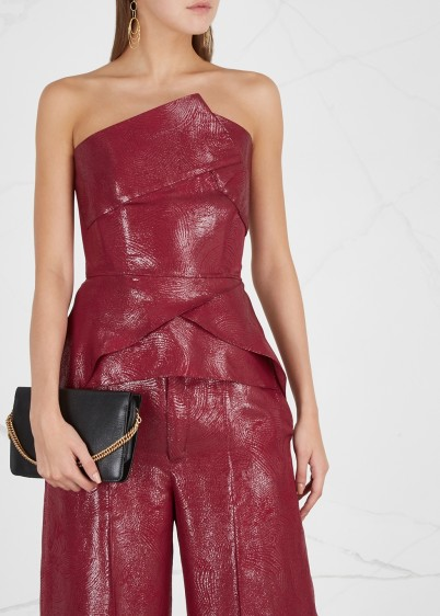 ROLAND MOURET Neal metallic-red silk-blend top ~ luxe event top