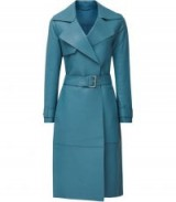 REISS ROMA LEATHER MAC BLUE ~ luxe belted coat