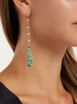 JACQUIE AICHE Rose-gold, diamond & turquoise drop earrings ~ luxe statement accessory