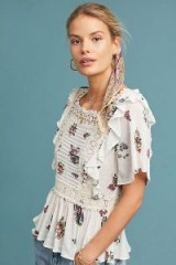 Eri + Ali Roussillon Floral Top in Ivory | ruffled boho femme blouse