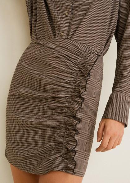 MANGO Brown Ruffled checked skirt PEPINO