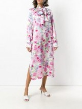 SAKS POTTS pussy bow floral dress in bianco/rosa