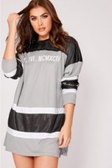 SARAH ASHCROFT GREY ROMAN NUMERALS OVERSIZED COLOUR BLOCK T SHIRT DRESS – sporty fashion