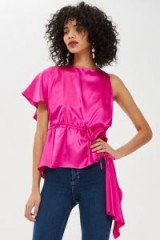 TOPSHOP Pink Satin Asymmetric Blouse – side draped one sleeve top