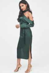 LAVISH ALICE satin choker neck off the shoulder midi shirt dress in forest green – luxe partywear