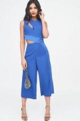 LAVISH ALICE satin panel cutout culotte jumpsuit in cobalt blue – cut out partywear