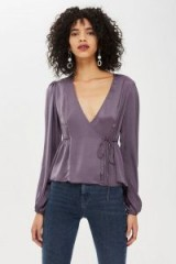 TOPSHOP Satin Wrap Blouse in Gunmetal ~ plunge front side tie top