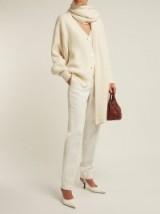 THE ROW Scarletta cream ribbed cashmere cardigan ~ chic cardi