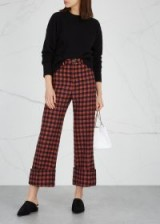 SEA NY Ethno Pop checked wool-blend trousers in orange and navy