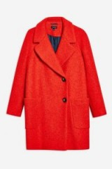 TOPSHOP Red Seamed Boucle Coat
