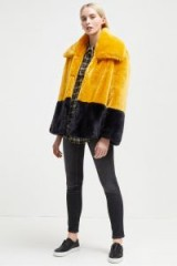 FRENCH CONNECTION SEBILLE FAUX FUR COAT – yellow and black colour block fluffy jacket – winter coats