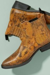Selected Femme Snake-Effect Leather Cowboy Boots in Yellow. REPTILE PRINTS