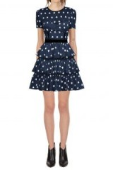 Self Portrait Satin Star Printed Tiered Dress