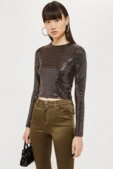 TOPSHOP Sequin With Metallic Thread Crop T-Shirt in Gold. LUXE TEE