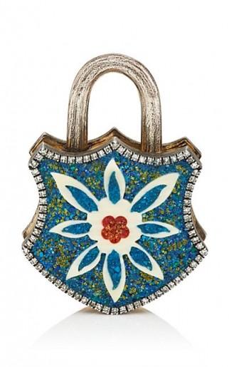 SEVAN BIÇAKÇI Turquoise Shield Padlock and pavé diamond Pendant / stunning handcrafted jewellery