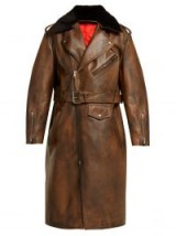 CALVIN KLEIN 205W39NYC Shearling-collar brown leather coat