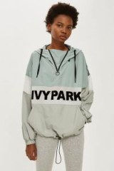 Ivy Park Sheer Flock Logo Jacket Dusty Green ~ hooded sports top
