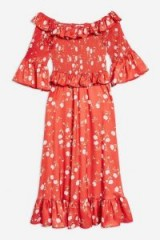 TOPSHOP Red Shirred Floral Print Bardot Dress / boho off shoulder