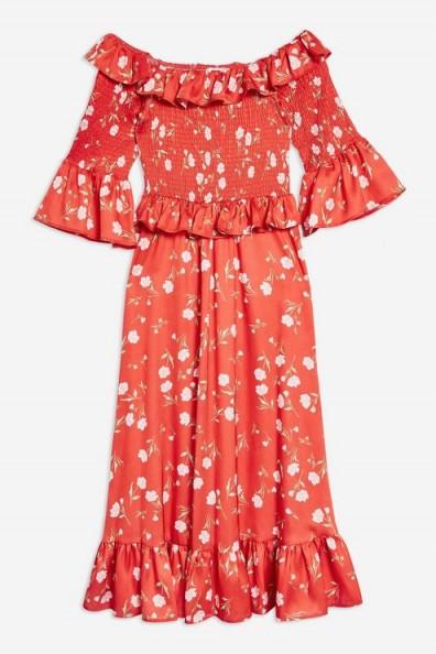 TOPSHOP Red Shirred Floral Print Bardot Dress / boho off shoulder